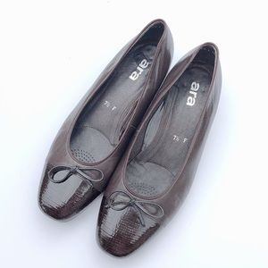 Ara Brown Leather Ballet Bow Flats Shoes 10